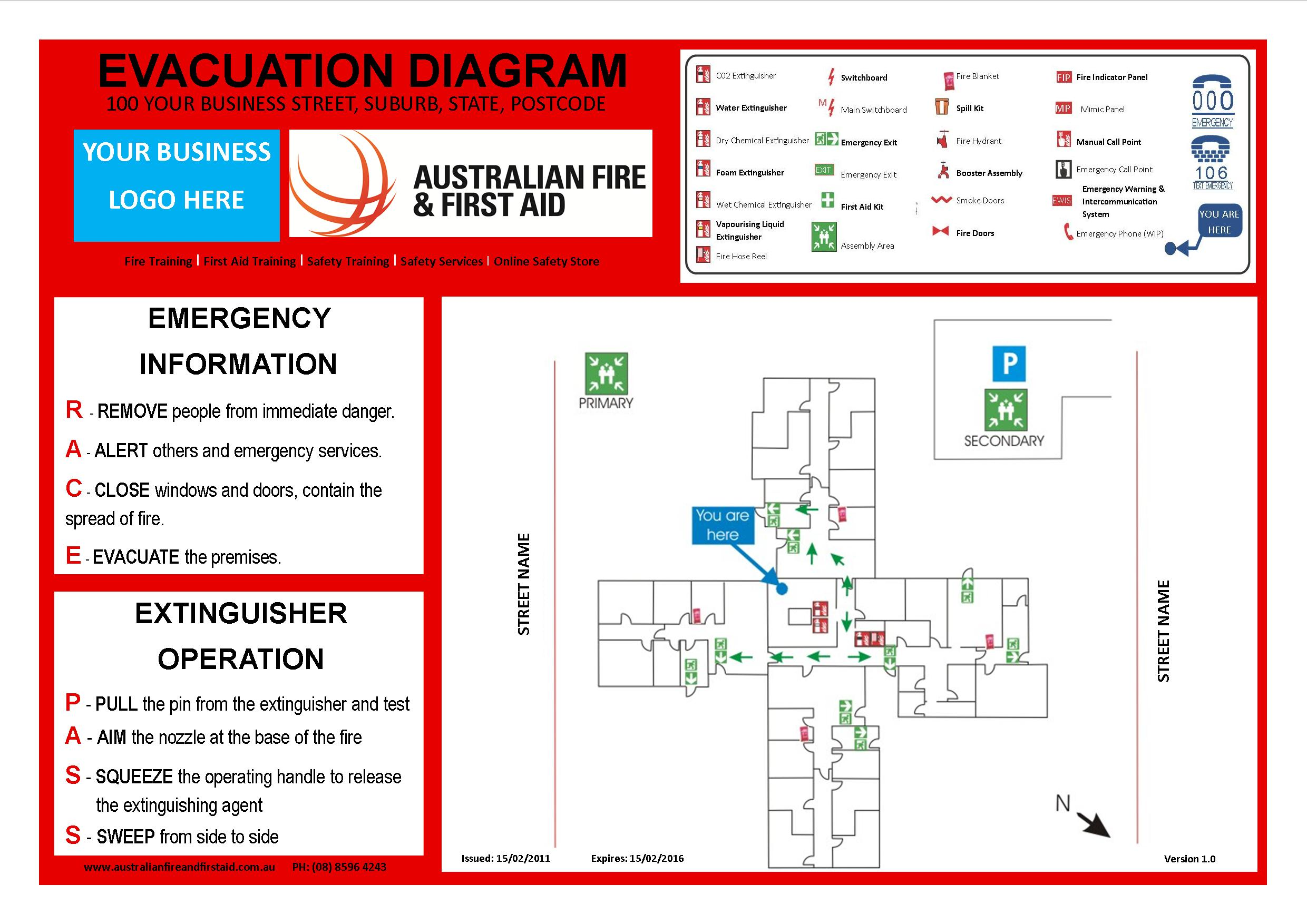 Emergency evacuation procedures diagram emergency free for Fire evacuation procedure template free